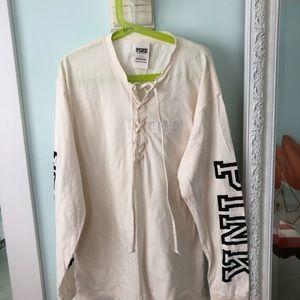 Cream Long Sleeve PINK Victoria Secret Shirt